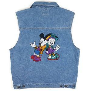 VTG Disney Mickey Minnie Denim Embroidered Vest